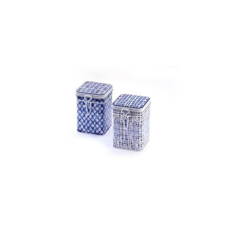 """Dose """"Indigo"""" 150g eckig, Bügelverschluss, 2-fach sortiert 11,9 x 8,2 x 8,2 cm"""
